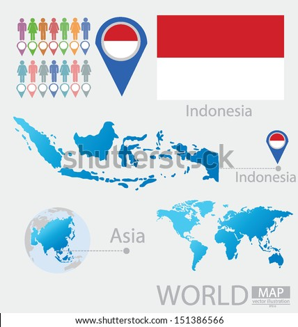 Indonesia. flag. Asia. World Map. vector Illustration. - stock vector