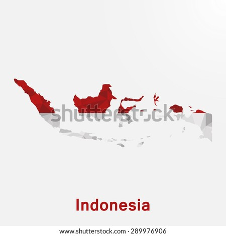 Indonesia flag map in geometric polygonal style.Abstract tessellation,background. Vector illustration EPS10 - stock vector
