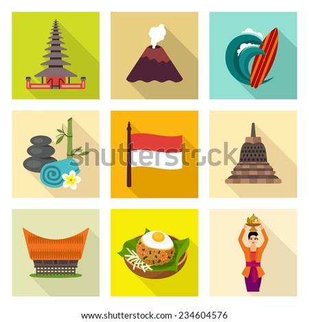 Indonesia icon set - stock vector