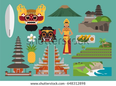 Indonesia Illustration Bali Island Vector Landmark Stock Vector 648312898  Shutterstock