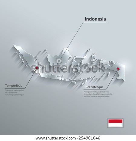 Indonesia map flag glass card paper 3D vector - stock vector
