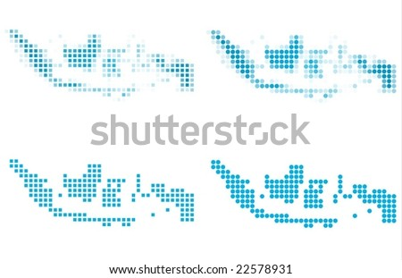 Indonesia map mosaic set. Isolated on white background. - stock vector