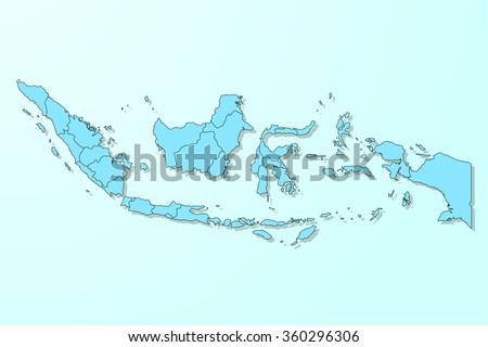 Indonesia map on blue degraded background vector - stock vector