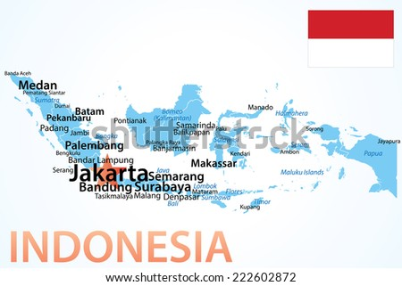 Indonesia Map Largest Cities Carefully Scaled Stock Vector 222602872