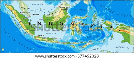 Indonesia physical vector map main cities stock vector 577452028 indonesia physical vector map with main cities and rivers gumiabroncs Gallery