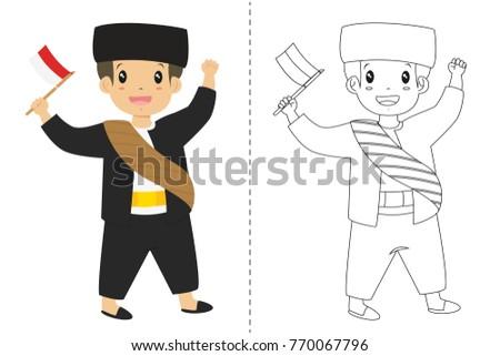 Betawi Jakarta Girl Boy Wearing Traditional Stock Vector