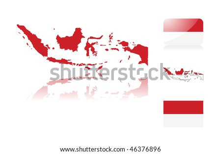 Indonesian map including: map with reflection, map in flag colors, glossy and normal flag of Indonesia. - stock vector