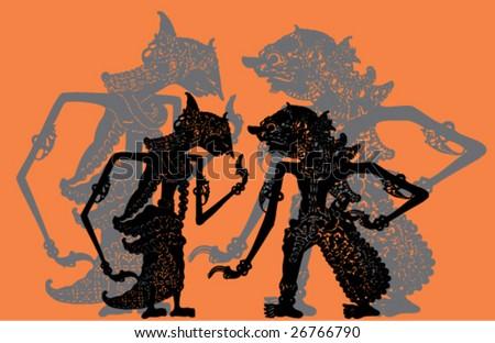 Indonesian Shadows Theater - stock vector