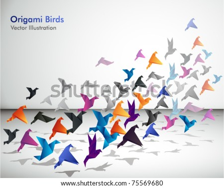 Indoor flight, Origami Birds start to fly in closed space. - stock vector