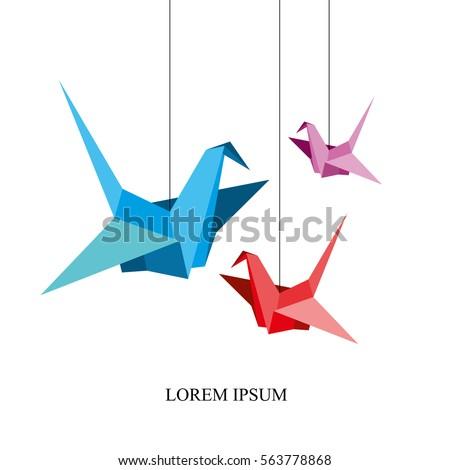 Indoor Flight Origami Birds Start To Fly In Closed Space Vector Illustration