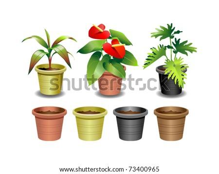 Indoor office plants - 1 - stock vector