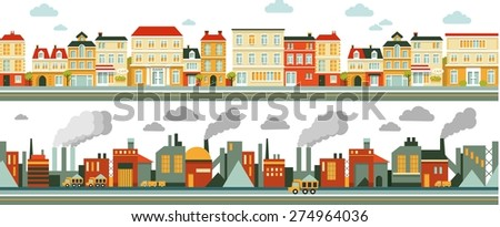 Industrial and city factory panoramic seamless background in flat style - stock vector