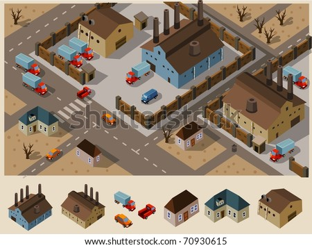 Industrial Area Isometric. Set of very detailed isometric vector - stock vector