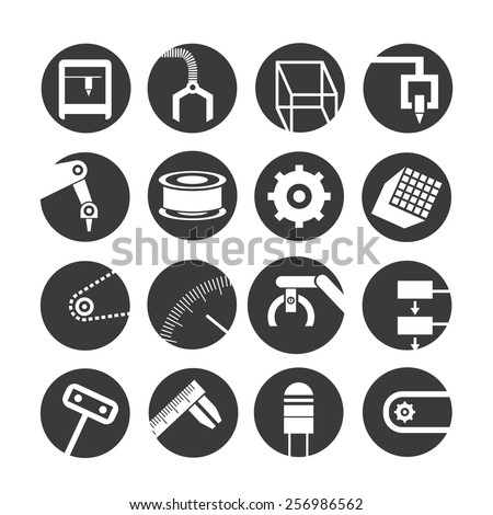 industrial automated robot icons, industry robot icons - stock vector
