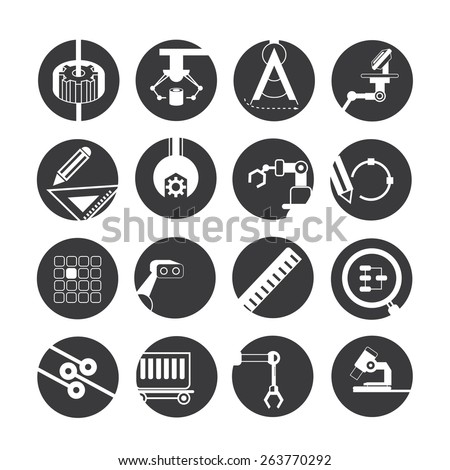 industrial automated robot icons, mechanical engineering icons - stock vector
