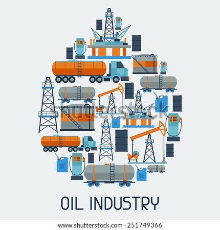 Industrial background design with oil and petrol icons. Extraction and refinery facilities. - stock vector