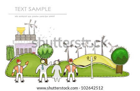 """Industrial background """"Happy world"""" collection - stock vector"""