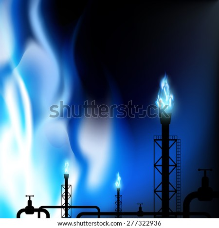 Industrial background. Pipes with a blue flame. Vector Image.