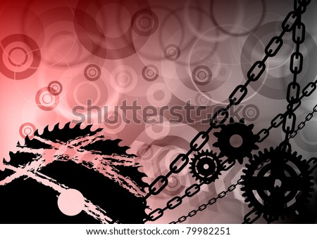 industrial background with the chain - stock vector