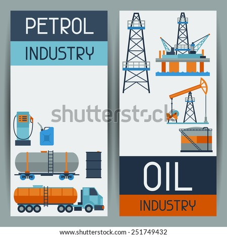 Industrial banners design with oil and petrol icons. Extraction and refinery facilities. - stock vector