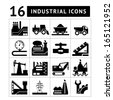 Industrial black icons set. Vector illustration - stock
