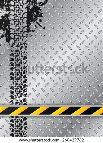 Industrial brochure design with grunge splattered tire track and striped bar - stock vector