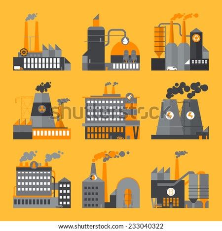Industrial building factories and plants icons set - flat design - stock vector