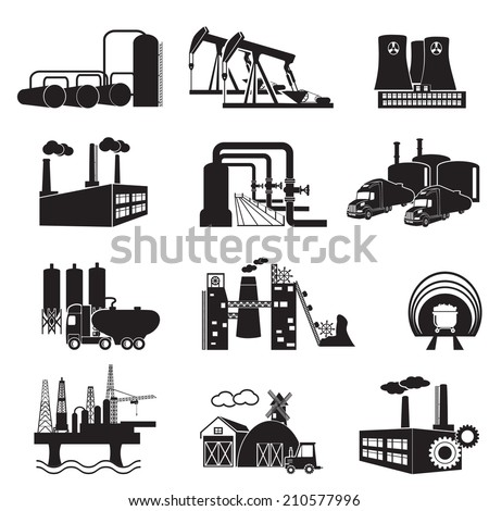 Industrial building factory and power plants icon set