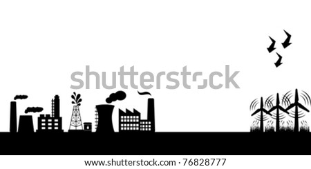 Industrial buildings and alternative clean energy with wind turbines - stock vector