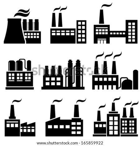 Industrial buildings, factories and power plants - stock vector