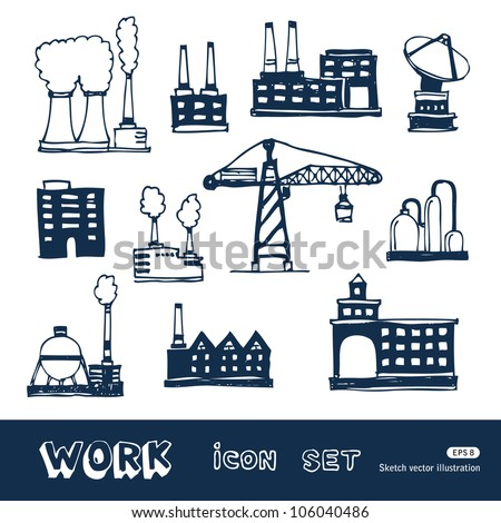 Industrial buildings icons set. Hand drawn sketch illustration isolated on white background - stock vector