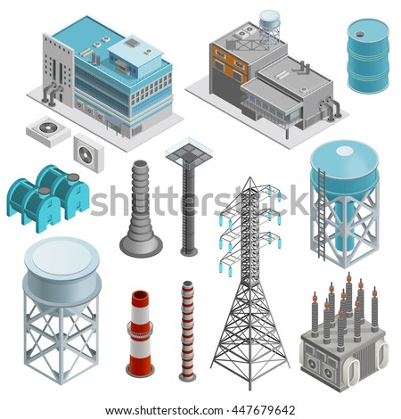 Industrial buildings isometric icons set with elements of power station boiler plant and power line supports vector illustration  - stock vector