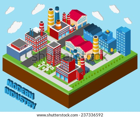 Industrial buildings isometric set modern industry city concept 3d vector illustration