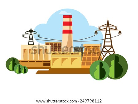 Industrial buildings pictograms - Illustration - stock vector