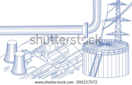 Industrial buildings: power line, tank, pipe, nuclear power plant, scheme. All objects in thin blue lines - stock vector