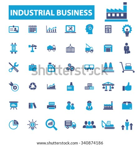 Industrial business, Factory, industry, meeting, logistics, manufacturing, plant, engineering, business icons vector set for infographics, mobile, website, application  - stock vector