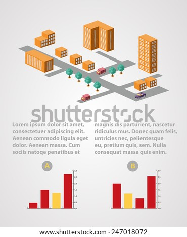 Industrial business info graphics templates for design and creativity - stock vector
