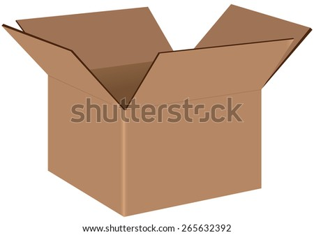 Industrial cardboard box for shipping and transportation. Vector illustration. - stock vector