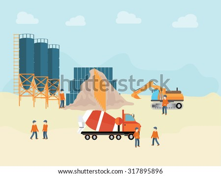 Industrial Cement Processing Plant with man worker, vector illustration. - stock vector