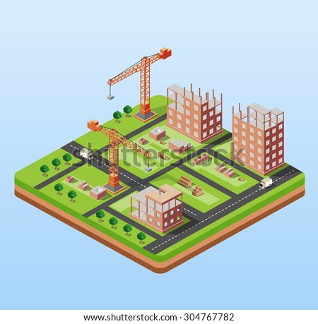 Industrial city building with construction cranes and building houses, a car made in perspective isometric - stock vector