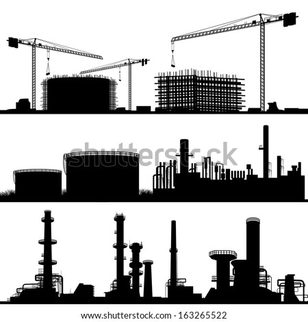 industrial city, Construction Site, refinery and power plant  - stock vector