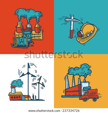 Industrial colored sketch flat icons design set with plants mining energy and transportation symbols isolated vector illustration - stock vector
