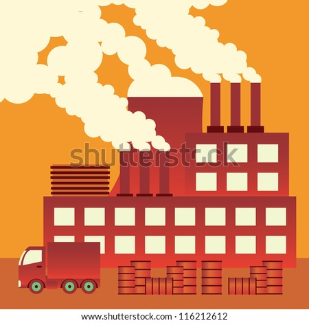 Industrial complex with smokestacks blowing pollution into the air. - stock vector