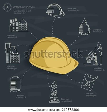 Industrial concept on blackboard background,clean vector - stock vector