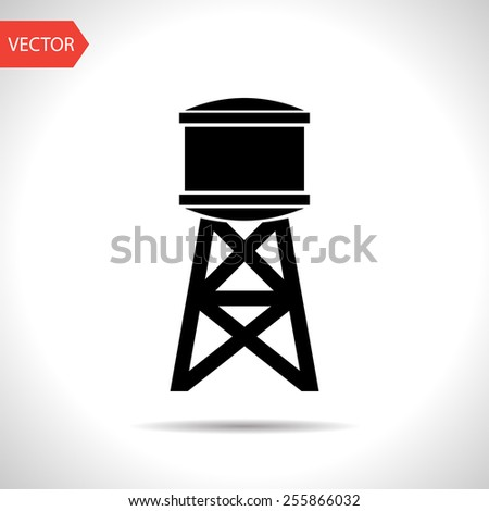 Industrial construction with water tank. Vector illustration - stock vector