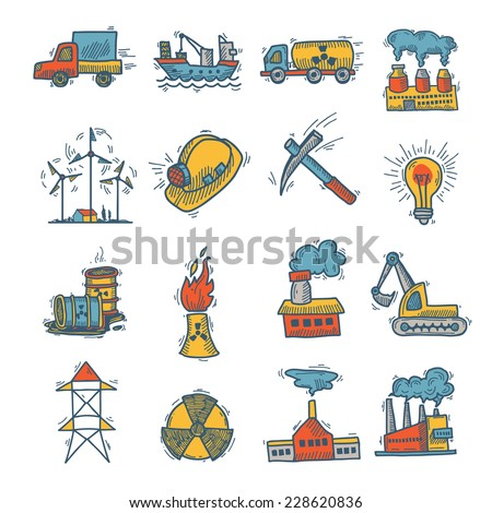 Industrial decorative colored sketch icon set with power plant and factories isolated vector illustration - stock vector