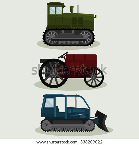 Industrial different types of vector  Vintage Tractors image design set for your illustration, decoration, labels, stickers and other creative needs.  - stock vector