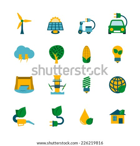 Industrial ecological solutions of cleaner air water production cycle systems flat icons collection abstract isolated vector illustration - stock vector