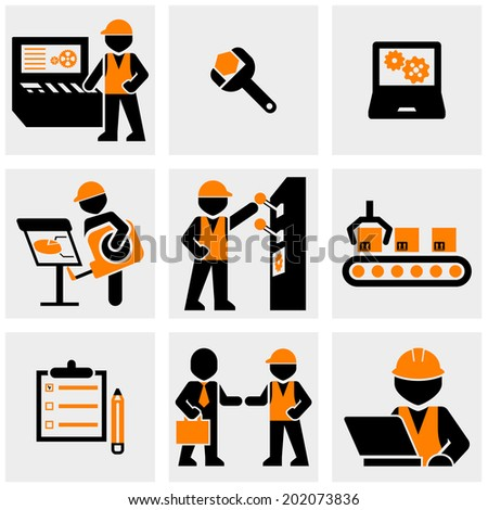 Industrial, Engineering vector icons set on gray.  - stock vector