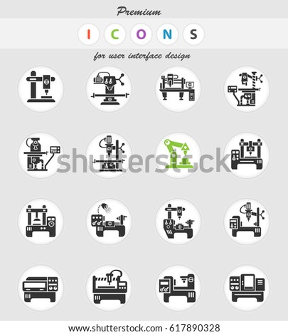 Industrial Equipment Web Icons User Interface Stock Vector 2018